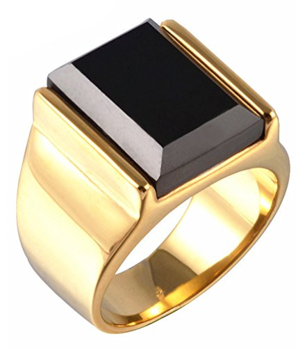 Z&X Stainless Steel Vintage Square Black Onyx Band Ring for Men Gold Size10