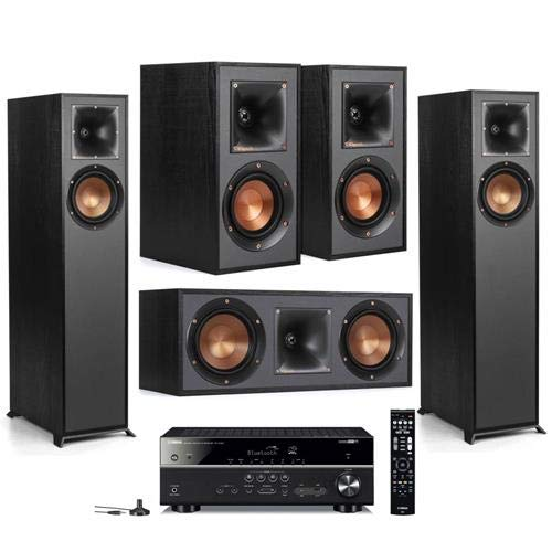 Klipsch 2 Pack R-610F Floorstanding Home Speaker – Bundle with R-41M Bookshelf Home Speakers, R-52C Center Channel Home Speaker, Yamaha RX-V485 5.1-Channel Network AV Receiver with MusicCast