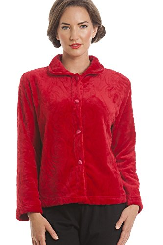 Camille Womens Luxury Supersoft Red Button Up Fleece Bed Jacket 12/14 (Down Bed Jacket)