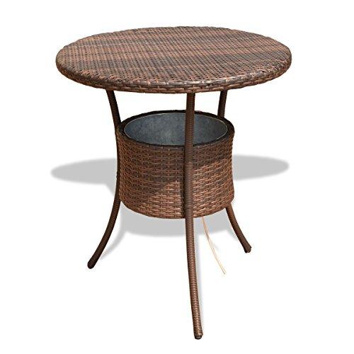 MyEasyShopping 31.5'' Outdoor Patio Rattan Cooler Table Outdoor Vidaxl Garden Set Rattan Wicker Dining 2 Black Sofa Furniture by MyEasyShopping