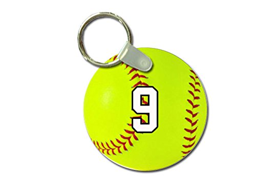 (TYD Designs Key Chain Sports Softball Customizable 2 Inch Metal and Fully Assembled Ring with Any Team Jersey Player Number 9)