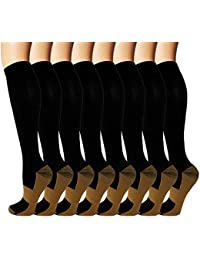 8 Pack Copper Knee High Compression Socks For Men & Women-Best For Running,Athletic,Medical,Pregnancy and Travel -15-20mmHg
