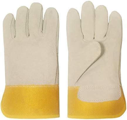 労働保護作業用手袋 労働保険レザーグローブ、高温耐性肥厚ショートワークグローブ、12ペア (Color : Yellow, Size : XXL)