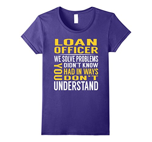 Loan Officer Costume (Womens Loan Officer Solve Problems TShirt XL Purple)