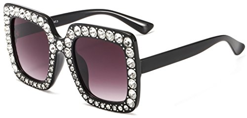 MAOLEN Square Oversized Gradient Shades Crystal Sunglasses for Women(square black-grey)