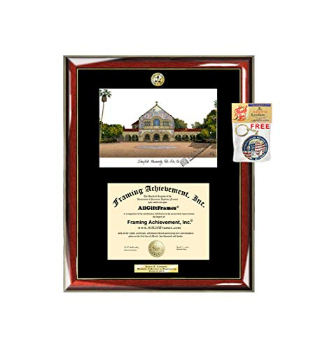 (Stanford University Diploma Frame School Lithograph Major Logo Graduation Degree Display Gift College Graduate Plaque Black Matted University Diploma Frames)