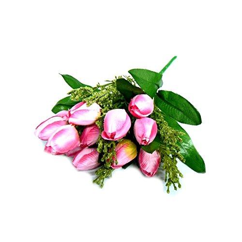 Flor artificial buque de tulipas com 12 flores, folhagens e complementos para arranjos e decoração (Rosa)