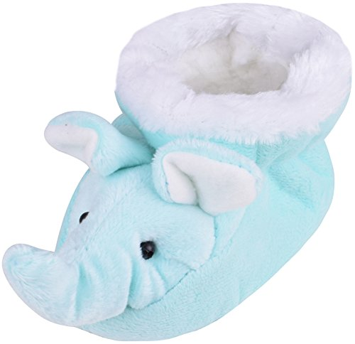 YJDS Kids Fluffy Elephant Slippers Anti-Slip Toddler Bedroom Booties Babies Aqua