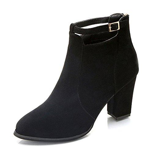 7' Spike Heel Sandals - Faionny Women Belt Buckle Shoes Zipper Warm Ankle Boots High Heels Martin Shoes Sanding Shoes Sneakers
