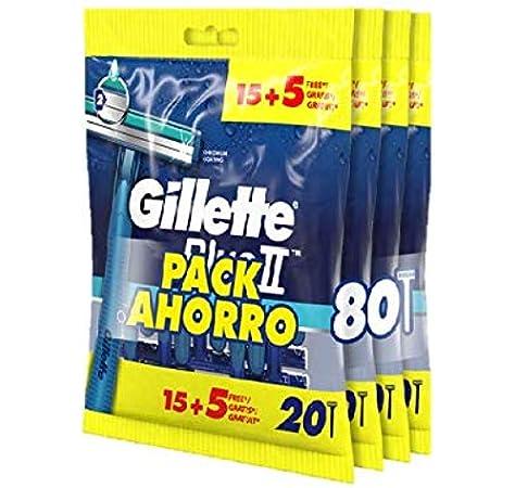 Gillette Blue II Maquinilla de Afeitar Desechable, Pack Ahorro de 80 unidades: Amazon.es: Salud y cuidado personal