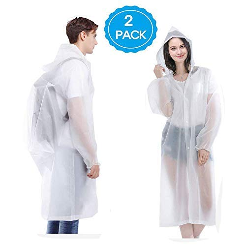 "HLK Sports Rain Poncho, [2 Pack] Reusable EVA Rain Coats, Size 59"" by 27.5"""
