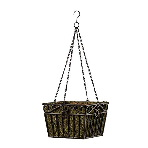 - 12 inch Square London Wrought Iron Hanging Basket Planter with Chain and Moss Liner -Antique Bronze Finish