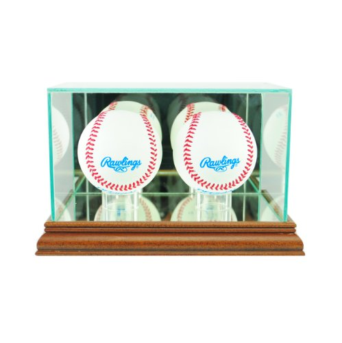 (Perfect Cases MLB Double Baseball Glass Display Case, Walnut)