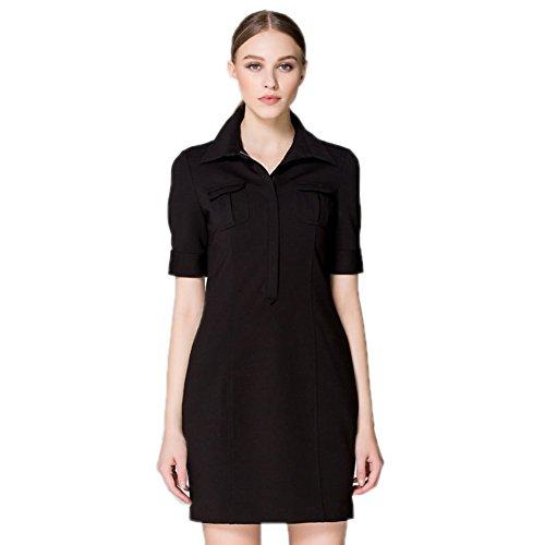 Cotylédons Women`s Robes Chemise Cou Manches De Revers Taille Haute Amincissent Robe Courte Maxi Noir
