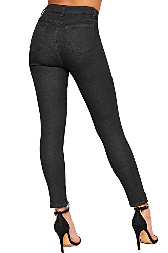 De Toile Poche 34 Jambe WEARALL Jeans Afflig Jean Maigre Femmes Dames Noir Ripped tendue 44 Genou fwfYvxzq