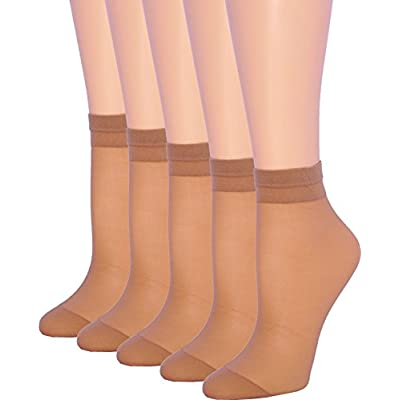 5 Pack Women's Ankle High Sheer Socks Silky Hosiery (Beige, 7-10) at Women's Clothing store