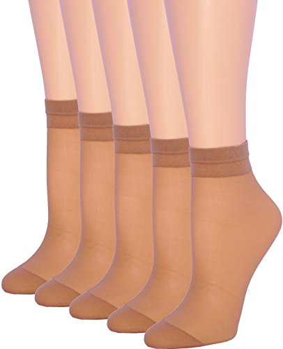 5 Pack Women's Ankle High Sheer Socks Silky Hosiery (Beige, 7-10)