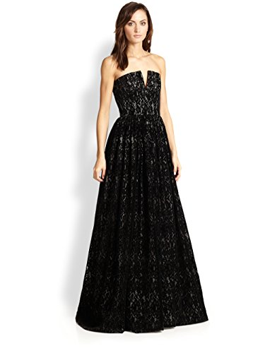 (alice + olivia Strapless Lace Bustier Black Evening Gown (4))