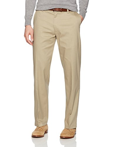 LEE Men's Total Freedom Stretch Relaxed Fit Flat Front Pant, Khaki, 34W x 30L