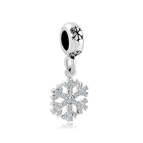 Charmed Craft Clear White Crystal Snowflake Dangle Charm Beads Jewelry Fits Pandora Charms Bracelet For Women Girls Christmas Gifts