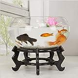 Aquarium Round Glass Fish Tank Transparent Mini Turtle Tank Goldfish Bowl Living Room Home Desk,B,,30CM