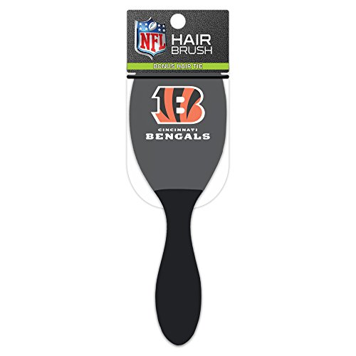 Worthy Promotional NFL Cincinnati Bengals Salon Style Hair Brush with Ball Tipped Bristles and Bonus Hair tie