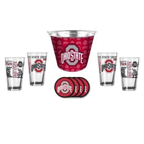 (NCAA Ohio State - Tonal Wrap Ice Bucket, Spirit Pint Glasses (4) & Vinyl Coasters (4) Set | OSU Buckeyes Beer Bucket Gift Set )