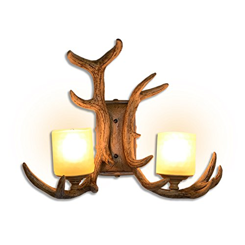AMBERLIGHTING Antlers Wall Lamp Light Vintage Sconce Fixture Lighting 2 Glass Shade