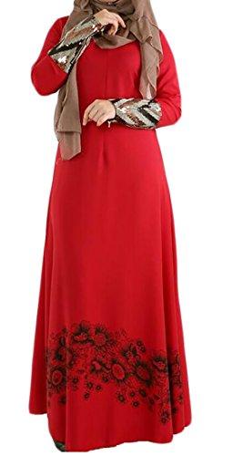WSPLYSPJY-Womens-Boho-Casual-Chiffon-Muslim-Abaya-Long-Dress