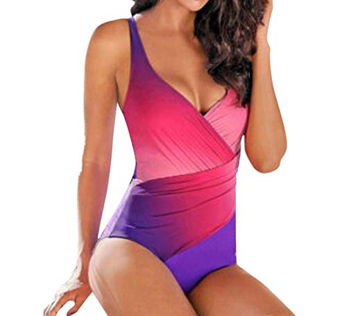 Women Bikini Swimsuit Nuewofally Push Up High Cut Monokini Thong Swimwear Fashion Gradient Color Retro Bathing Suit (Hot Pink,XL)