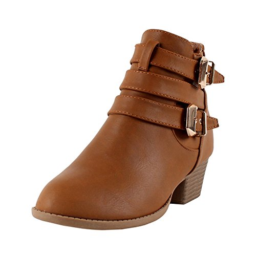 TOP Moda Women's Buckle Straps Stacked Low Heel Ankle Booties Tan 10
