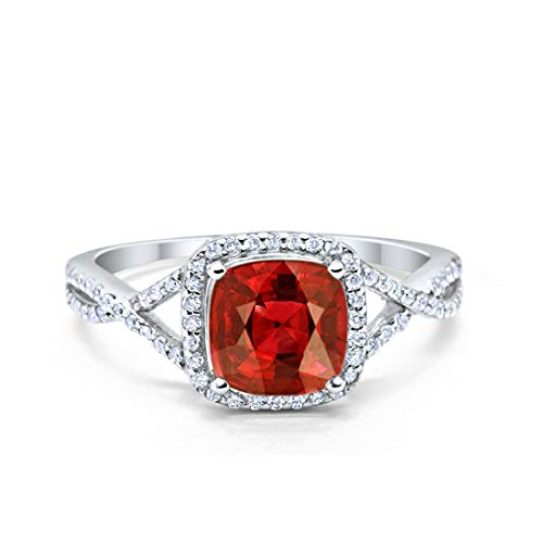 Blue Apple Co. Halo Infinity Shank Engagement Ring Cushion Simulated Garnet Round Cubic Zirconia 925 Sterling Silver, Size-8 (Garnet Simulated Ring)