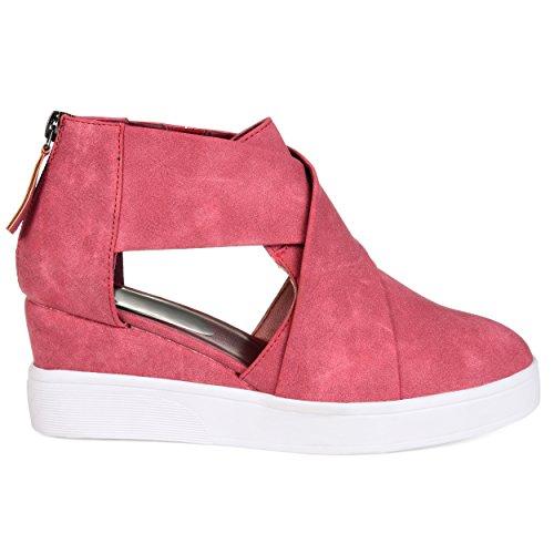 Brinley Co. Womens SEB Athleisure D'orsays Criss-Cross Sneaker Wedges Pink, 8 Regular US