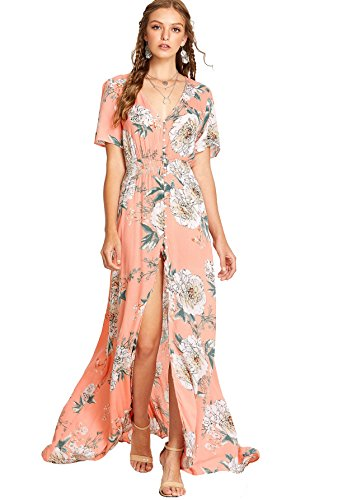 (Milumia Women Floral Print Button Up Split Flowy Party Maxi Dress Multicolor-Floral-1 S )