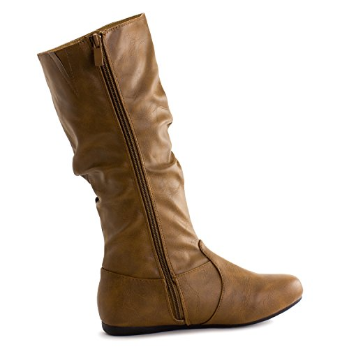 Tan Mid Faux inch Calf Generation19 Leather 13 Womens Adults Boots Easy PwqnpxOv