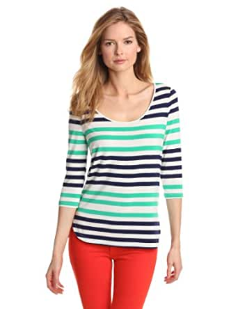 Isaac Mizrahi Jeans Women's Melanie Button Back Stripe Knit Top, Navy/Clover, Large