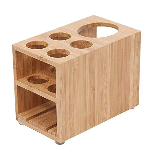 MobileVision Toothbrush and Toothpaste Holder Stand for Bathroom Vanity Storage, Bamboo, 5 Slots