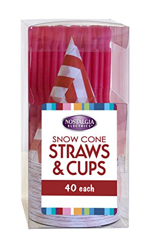 Nostalgia SCSTRAWCUP40 Snow Cone kit with 40-Straws & 40-Cups