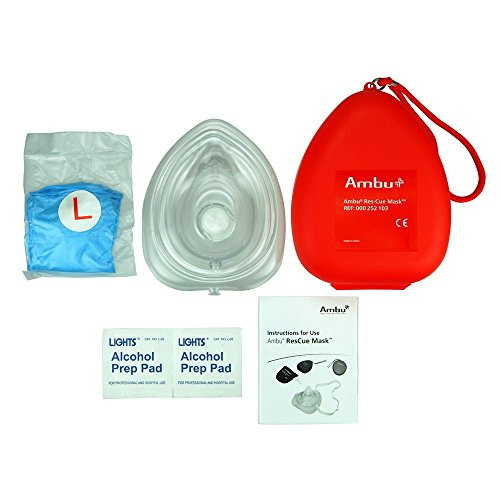 AMBU 000252103 Plastic Pocket CPR Res-Cue Mask, Basic, 5.5