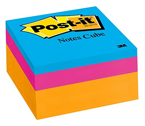 Sheet Adhesive Note Cube - Post-it Notes Cube, 3 in x 3 in, Orange Wave, 400 Sheets/Cube (2053-ELT-O)