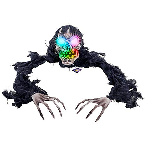 Halloween Zombie Graveyard (Halloween Haunters Skeleton Zombie Grim Reaper Groundbreaker Multi-Color Flashing Skull Lights Prop Decoration - Life-Size Glowing Spooky Skull - Haunted House Graveyard, Cemetery, Tombstone,)