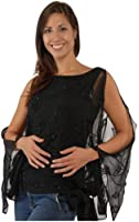 The Evening Store Terrific Hand Beaded Blk Top with Open Sleeve Missy & Plus Sizes