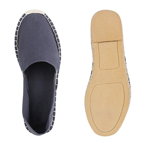 Stiefelparadies Herren Slippers Espadrilles Bast Slip Ons Sommer Schuhe Flats Flandell Grau