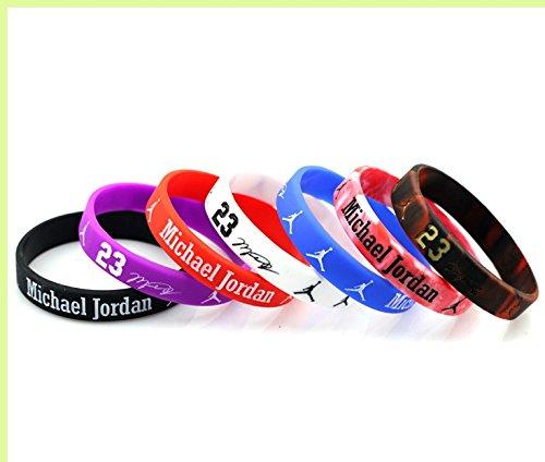 SportsBraceletsPro - Basketball Legend - Player #23 - Bulls - 7 Bracelet Set - Silicone Wristband - Kid 6.7