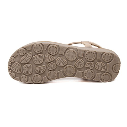 Btrada Kvinner Mote Cz Flat Sandaler T Stropp Bohemia Kjole Sandaler Aprikos