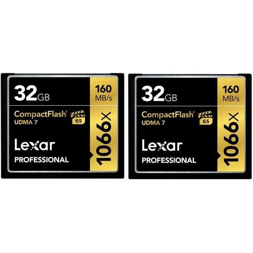 Lexar Professional 1066 x 32GB CompactFlash card LCF32GCRBNA10662-2 Pack