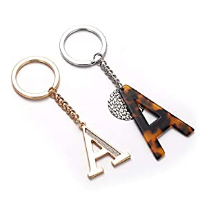 2 Pack Keychain for Women Men Initial Letter Key Rings Set Charms for Handbags Wallets Cars Alphabet Key Chains Gifts