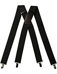 """Hold-Ups 1 1/2"""" Wide Classic Series Suspenders in X-back style w/ Patented No-slip Silver Clips"""