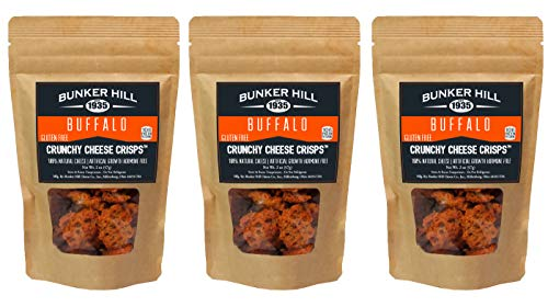 Bunker Hill Crunchy Cheese Crisps 100% Cheese High Protein, Gluten Free, Low Carb, Keto Snacks 2 Ounce Bag (Buffalo, 3 Pack)