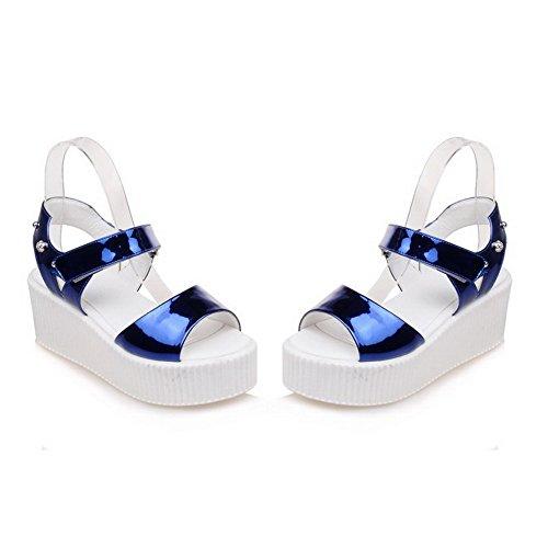 AgooLar Mischungsmaterialien Zehenkätzchen Heels Sandals Offene Klettverschluss Solid Frauen Blue 77UrxPA